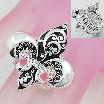 Black Textured French Fleur De Lis Silver Tone Ring