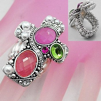 Religious Pink Cross Silver Tone Ring
