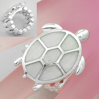 White Turtle Tortoise Shell In Lay Silver Tone Ring