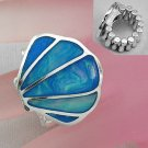 Blue Sea Shell In Lay Silver Tone Ring