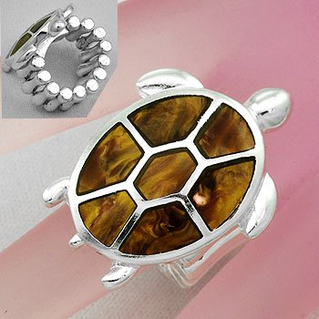 Brown Turtle Tortoise Shell In Lay Silver Tone Ring