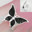 Black Butterfly Shell In Lay Silver Tone Ring