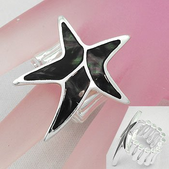 Black Starfish Star Fish Shell In Lay Silver Tone Ring