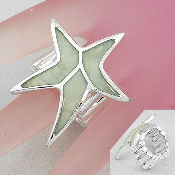 White Starfish Star Fish Shell In Lay Silver Tone Ring