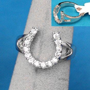 Cubic Zirconia CZ Horseshoe Horse Shoe Western Ring Size 8