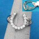 Cubic Zirconia CZ Horseshoe Horse Shoe Western Ring Size 9