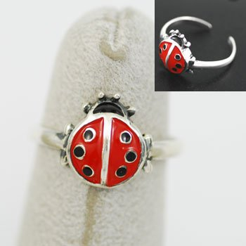 Red Ladybug Lady Bug Sterling Silver Toe Ring