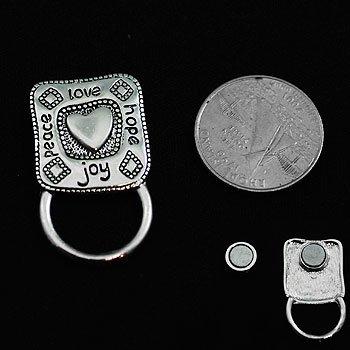 Peace Hope Love Joy Badge ID Eye Glass Holder Brooch Pin