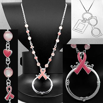 Pink Ribbon Breast Cancer Eye Glass Badge ID Holder Silver Tone Necklace
