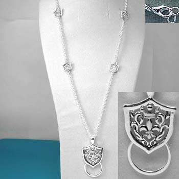 French Fleur De Lis Glass Badge ID Holder Silver Tone Necklace