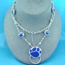 Blue Bear Paw Eye Glass Badge ID Holder Silver Tone Necklace