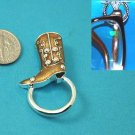Western Brown Boot Boots Picture Badge ID Eye Glass Holder Brooch Pin