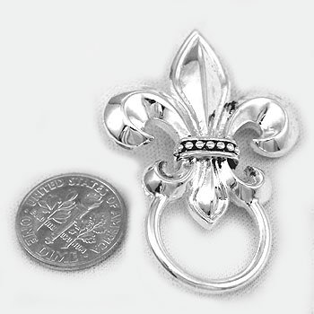 Metal French Fleur De Lis Picture Badge ID Eye Glass Holder Brooch Pin