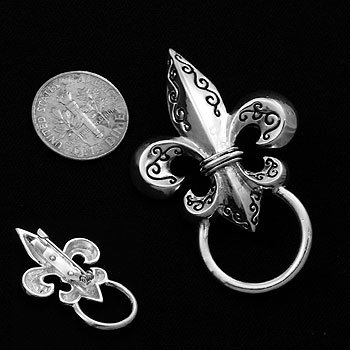 Engraved French Fleur De Lis Picture Badge ID Eye Glass Holder Brooch Pin