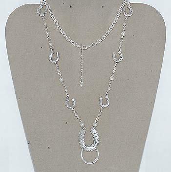 Western Horseshoe Horse Shoe Eye Glass Badge ID Holder Silver Tone Necklace