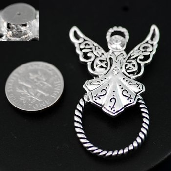 Guardian Angel Picture Badge ID Eye Glass Holder Brooch Pin