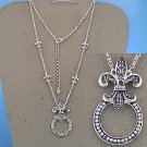 Textured French Fleur De Lis Eye Glass Badge ID Holder Silver Tone Necklace
