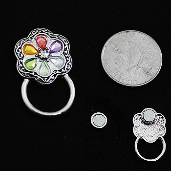 Multicolor Flower Picture Badge ID Eye Glass Holder Brooch Pin