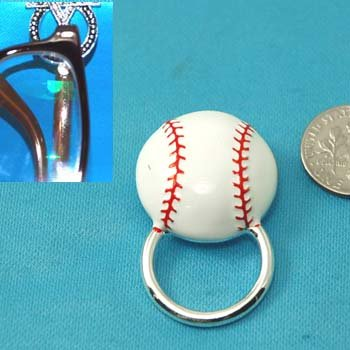 White Red Baseball Base Ball Picture Badge ID Eye Glass Holder Brooch Pin