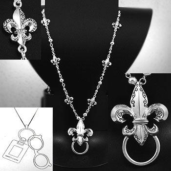 Long French Fleur De Lis Eye Glass Badge ID Holder Silver Tone Long Necklace