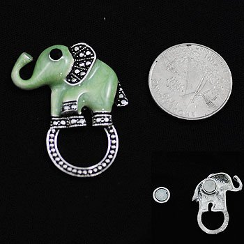 Green Elephant Eye Glass Badge ID Holder Silver Tone Necklace