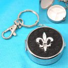 Black French Fleur De Lis Pill Holder Key Keychain