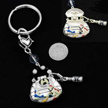 Ice Hockey Locket Holder Key Keychain