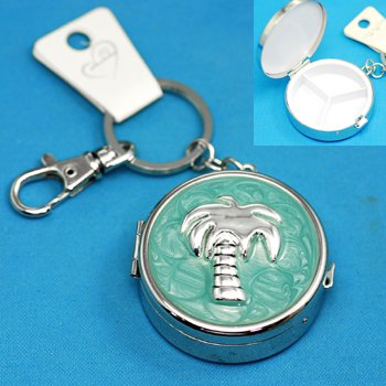 Palm Tree Teal Pill Box Holder Key Keychain
