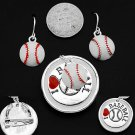 I Love Baseball Necklace Pendant Earring Set