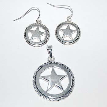 Texas Lonestar Necklace Pendant Earring Set