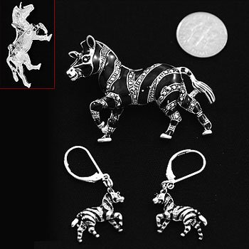 Black Zebra Necklace Pendant Earring Set