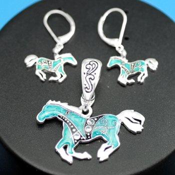 Blue Western Horse Pony Necklace Pendant Earring Set