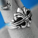 French Fleur De Lis Sterling Silver Ring Size 10