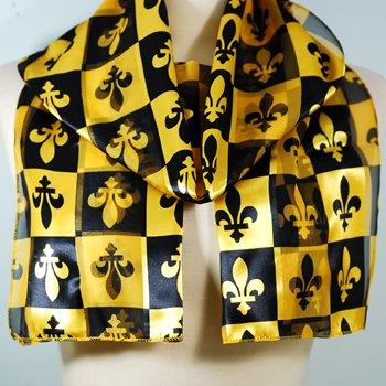 Black Gold Satin French Fleur De Lis Scarf