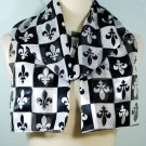 Black White Satin French Fleur De Lis Scarf