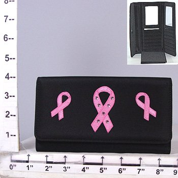 Black Pink Ribbon Breast Cancer Awareness Coin Purse Checkbook Wallet Holder