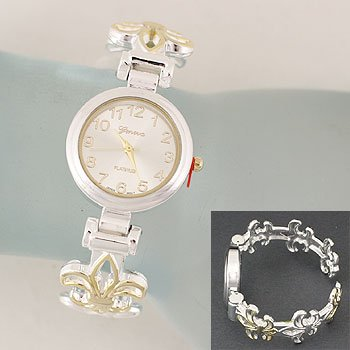 Fleur De Lis Two Tone Cuff Bangle Bracelet Watch