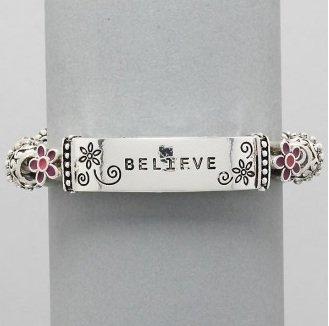 Believe Flower Religious Inspirational Bracelet