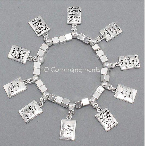 Religious Ten Commandments Bible Charm Bracelet