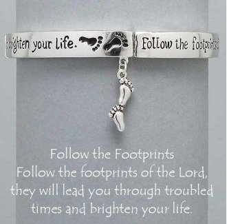 Religious Follow the Footprint Footprints Charm Bracelet 2