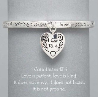 Religious 1 Corinthians 13:4 Love is Patient Heart Charm Bracelet