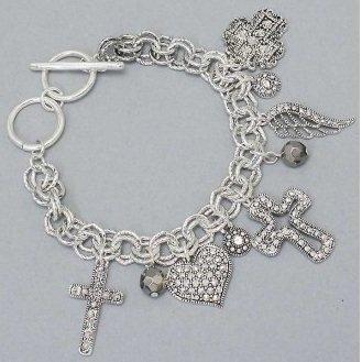 Chunky Cross Silver Tone Angel Wings Heart Love Charm Bracelet