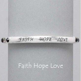 Religious Faith Hope Love Black Bracelet