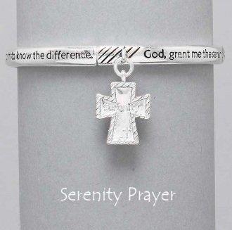 Religious Cross Serenity Prayer Textured Bracelet