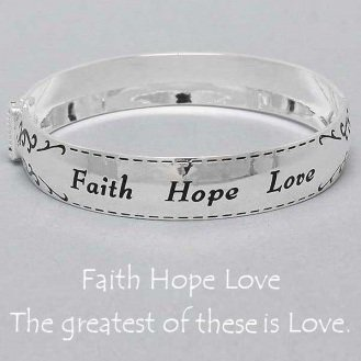 Religious Faith Hope Love Bangle Bracelet