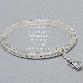 Religious Guardian Angel Blessing Bangle Charm Bracelet