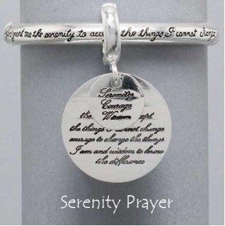 Religious Serenity Prayer Bangle Charm Bracelet