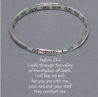 Religious Psalms 23:4 Walk Through The Valley Mobius Bangle Bracelet