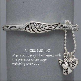 Religious Guardian Angel Charm Blessing Bangle Bracelet