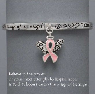 Religious Pink Ribbon Guardian Angel Breast Cancer Bracelet